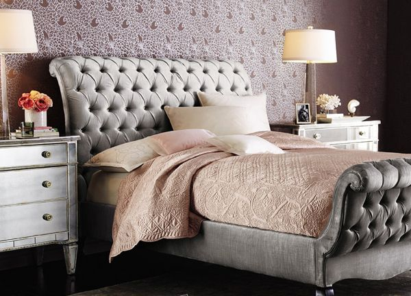 Luxury Statement Tufted Sleigh Bed Glamourous Bedroom Old