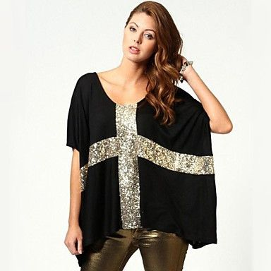 Black and Gold Sequis Cross Oversized Womens Loose T-Shirt