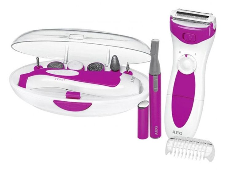 Manicure/Pedicure Set  Practical appliance for cosmetic hand and foot care incl. LED light  Ergonomically designed housing with on/off switch  6 different attachments: 1 polishing attachment, 1 filing attachment (fine), 1 filing attachment (coarse), 1 large filing cone (blunt), 1 small filing cone (pointed), 1 small filing cone (round)  4-level switch  Right/left-handed rotation  Convenient box for storage  Battery operation: 2 x 1.5 V AA (batteries not included)    Lady Shaver  Ergonomic…