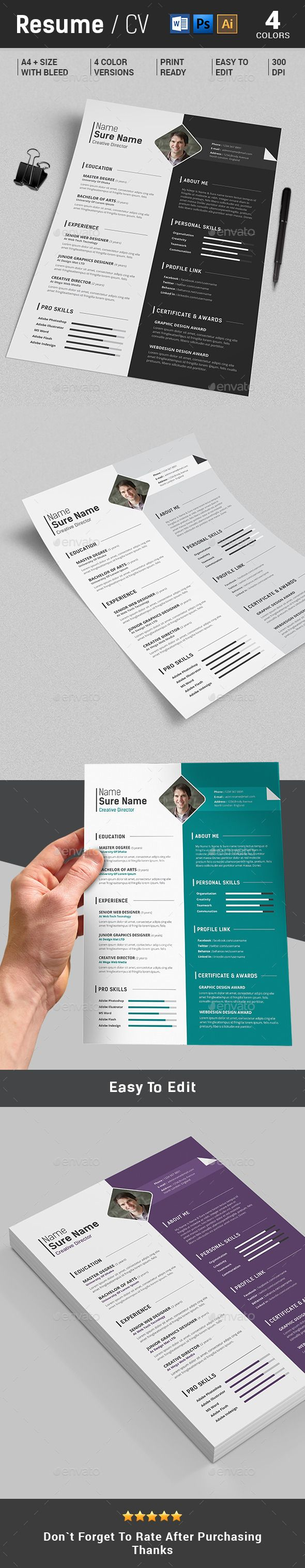 Resume / CV Template #design Download: http://graphicriver.net/item/resumecv-/12869073?ref=ksioks