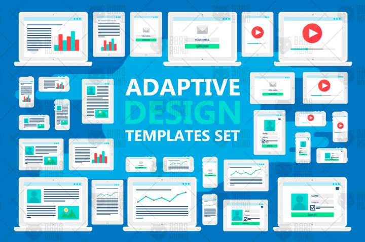 Adaptive Web Template for site forms of email subscribe, login to account, watching video, online shopping, blog and infographics on computer, smartphone and tablet. Vector