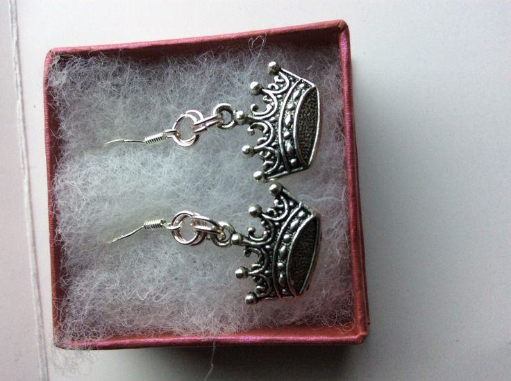Crown charm earrings