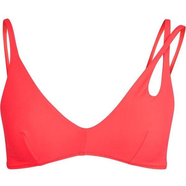 Womens Bikinis Araks Elias Neon Coral Bikini Top (€195) ❤ liked on Polyvore featuring swimwear, bikinis, bikini tops, neon bikini, bikini top, bikini two piece, neon swimwear and bikini swim wear