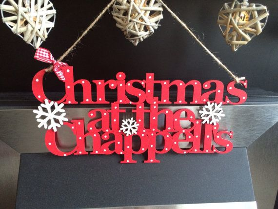 Christmas at the (surname) Personalised Handmade sign ...