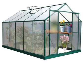 glasshouses SPECS - Green colour - Assembled dimensions: 365.8cm (L) x 243.8cm (W) x 250cm (H) - Carton dimensions for polycarbonate panels: 142 x 15 x 73cm (24kg) - Carton dimensions for aluminium parts: 372 x 18 x 25cm (66kg) - Average thickness of aluminium profiles: At least 1.5mm - Weight: 90kg  Greenhouses are kitset and come with assembly instructions. Our expert customer service team are on hand to help if you need it.