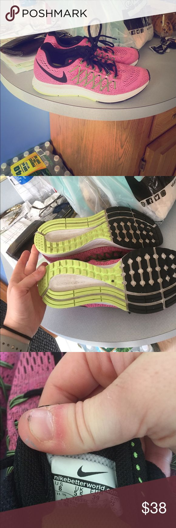 Nike Pegasus! Super clean! Barley worn, pink and green Nike Pegasus size 8 great for long distance running! It's all I wear but I own like 10 pairs lol trying to condense down to a few Nike Shoes Sneakers