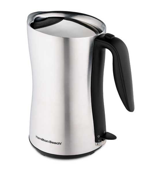 Hamilton Beach 8-Cup Cordless Kettle #40898, $50 Every spot on this matte stainless-steel jug-style model stayed cool enough to touch while it brought water to a boil. 8-cup capacity. (hamiltonbeach.com)  Pros: • All surfaces stay cool enough to touch while the kettle is operating. • It's easy to clean, as the inside is very smooth. Cons: • Its hard plastic handle is uncomfortable to grasp. • When you're filling the kettle, the lid gets in the way and is hard to replace if removed. • A…