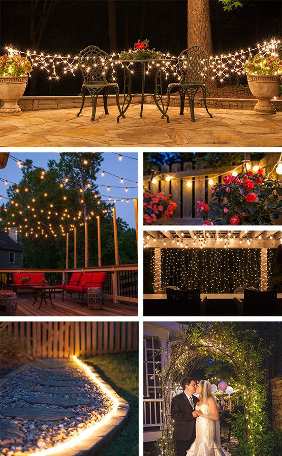Mejores 127 im genes de outdoor patio and party ideas en for Luces patio exterior