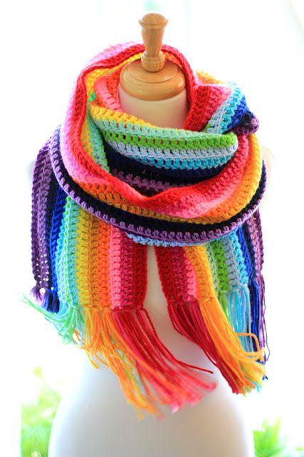 Rainbow crochet scarf by Mademoiselle Mermaid.