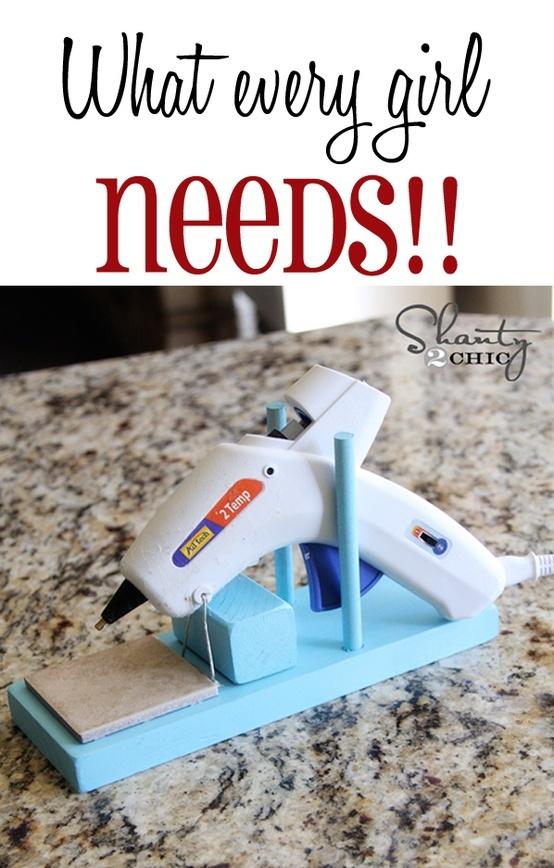 Homemade glue gun stand