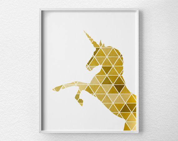 Impression géométrique Licorne, licorne Art, Silhouette de Licorne, licorne affiche, or Art, Art géométrique, Faux feuille d'or, impression de la feuille d'or, 0335