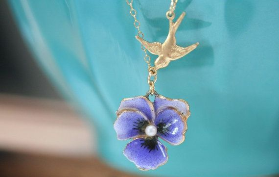 Pansy Necklace Lavander Flower Necklace Pansy Jewelry by madebymoe