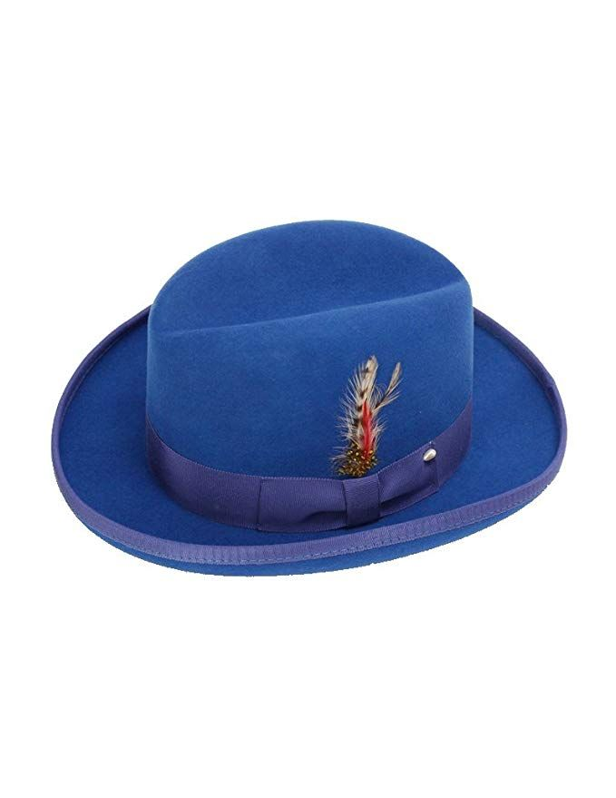 New Mens 100% Wool Royal Blue Godfather Style Homburg Fedora Hat Review 9a6670485006