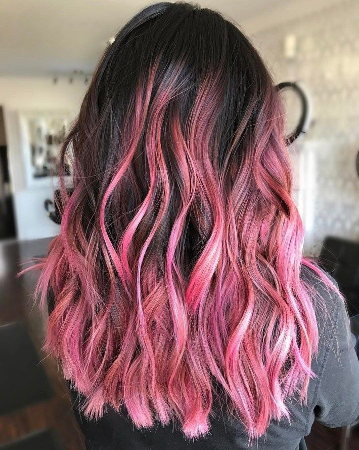 40 Ideas Of Pink Highlights For Major Inspiration Dark Pink Hair Hair Color Pink Pink Hair Highlights
