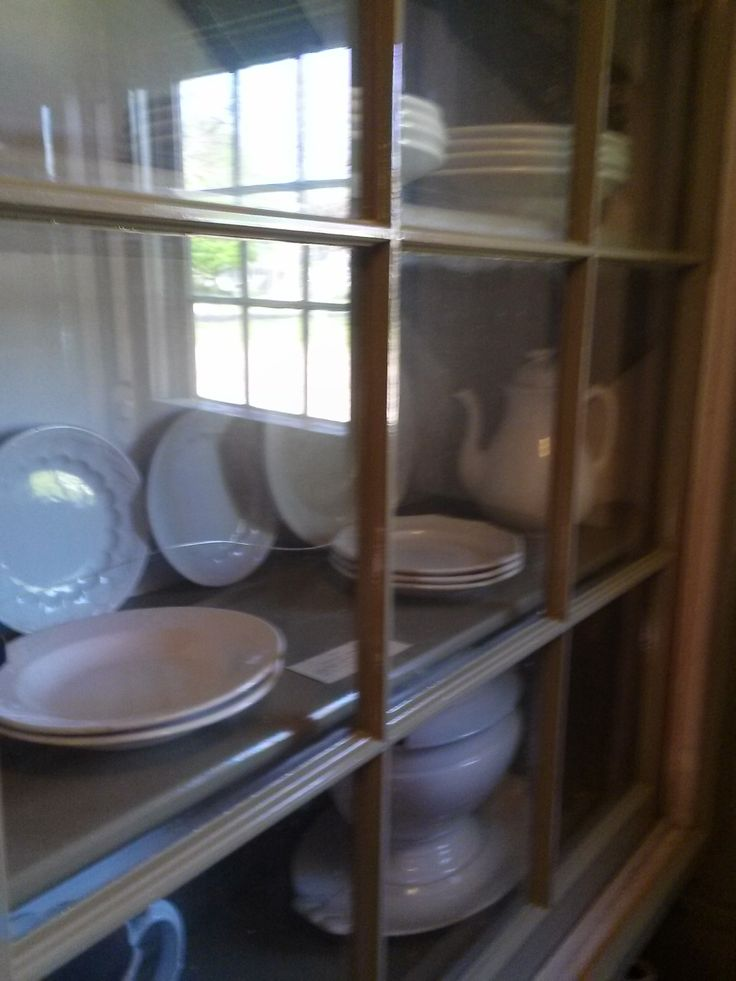 Photo taken 2014 Pantry shelves in the Old Kitchen with Ironstone dishes. The glass doors were added years later during a time period after the Atwood ... & 89 best Old Kitchen Atwood House images on Pinterest | Archive ...