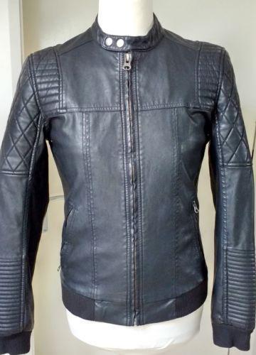 02c2e001ac6 River-Island-Black-Faux-Leather-Biker-Racer-Jacket-Men-039-s-Mans-Size-S