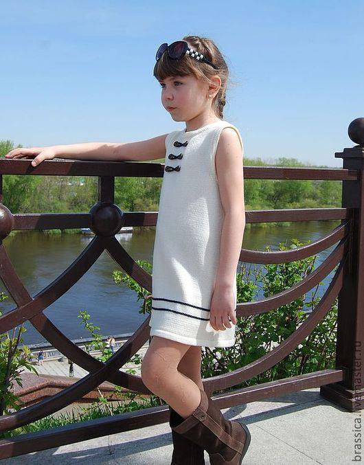 платье, платье вязаное, платье морское, морской, комплект морской