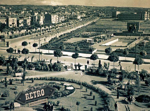 1930'larda Ankara Kızılay, şimdi ki güvenpark ve dolmuş duraklarının bulunduğu GMK bulvarı.