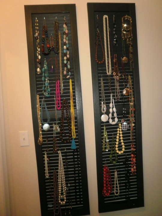 Necklace Organization on long shutters and s hooks