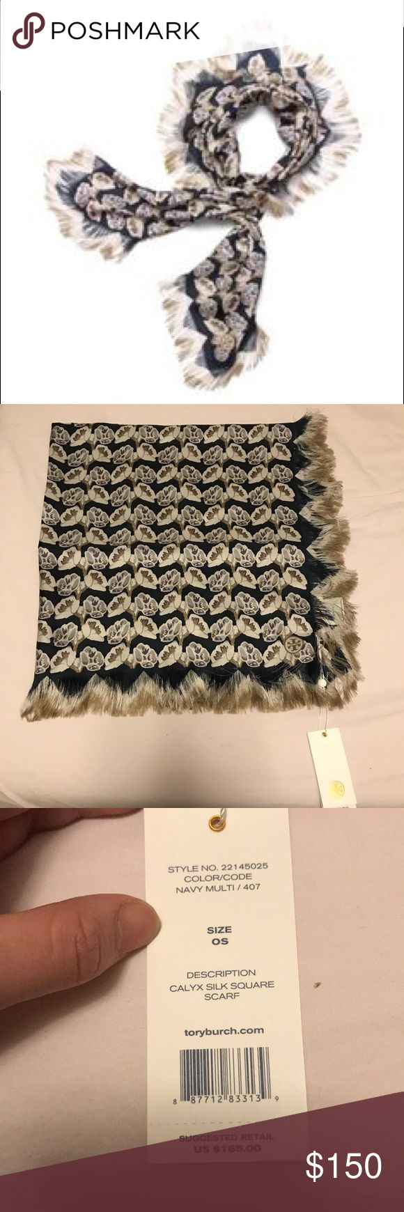 Brand new CALYX FLOWER SILK SQUARE SCARF Brand new with tag Tory Burch Accessories Scarves & Wraps