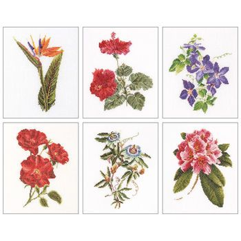 Thea Gouverneur counted-cross-stitch Kit Floral Studies 1 On Linen