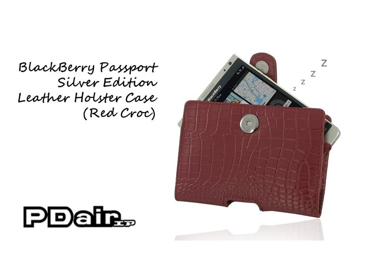 PDair BlackBerry Passport Silver Edition Leather Holster Case (Red Croc)