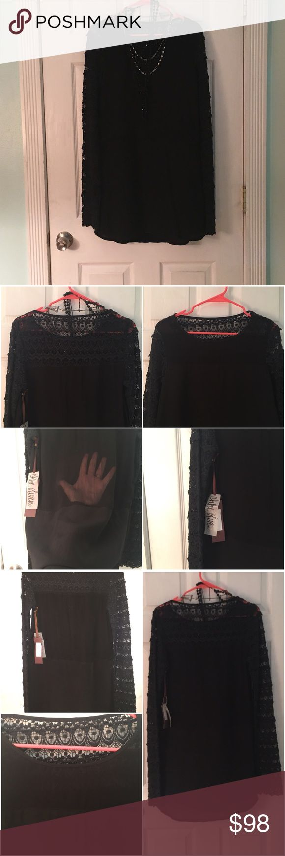 """🆕Chloe Oliver The Avery Long Sleeve Dress This dress is NWT! All black dress with black crochet sleeves and back yoke. Partially lined at bottom and in front. Pockets in front. Back panel is sheer. No size or any other care tags. Approximately 18"""" across the bust when laid flat and 18 1/2"""" across the waist when laid flat. Approximately 32 1/2"""" from shoulder to hem. Received as a gift. Unsure of exact size. Seems similar to a small or 4-6 dress size. I'm a 4 and it is slightly loose on me…"""
