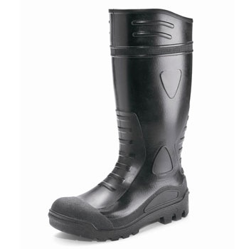 PVC Black Safety Welly    These PVC Black Safety Welly are made from high quality PVC uppers and come with a washable nylon lining. These water resistant safety wellies have cleated nitrile sole, Anti-static sole, & Oil resistant sole with  a steel toecap & midsole protection. Approved to EN345-1 S5