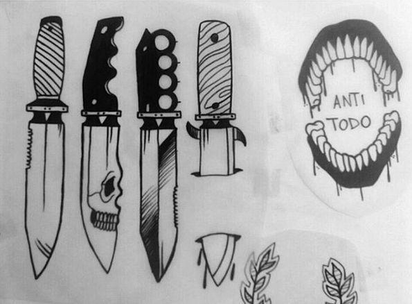 #tattoo #knife #knifetattoo #tattoodesign #flash #blacktattoo Intagram: Paula666Ink
