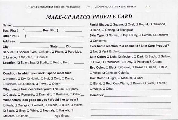 Make-Up Artist Client Profile Cards Pack of by GETATIPEVERYTIME