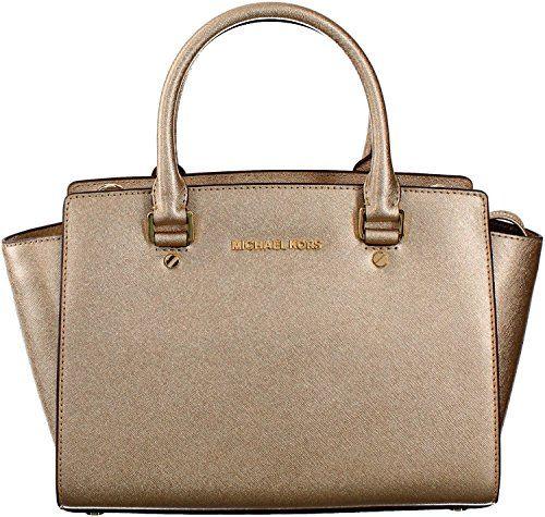 Michael Kors Selma Medium Top Zip Satchel Pale Gold Purse Carryall Bag - Handbag