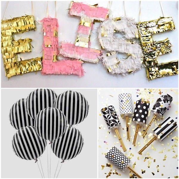 Gold, Frill, Stripes, And confetti. A vibrant and fun party inspiration board!