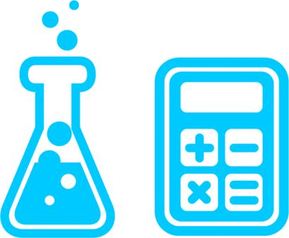 Icons for chemistry and calculator