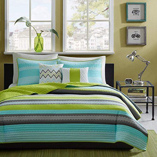 Reversible Modern Teal Lime Green Grey Coverlet Bedding