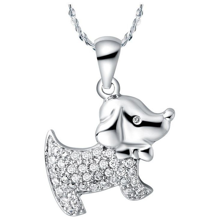 34 best sterling silver pendants images on pinterest sterling sterling silver cute dog cz pendant w chain mozeypictures Gallery