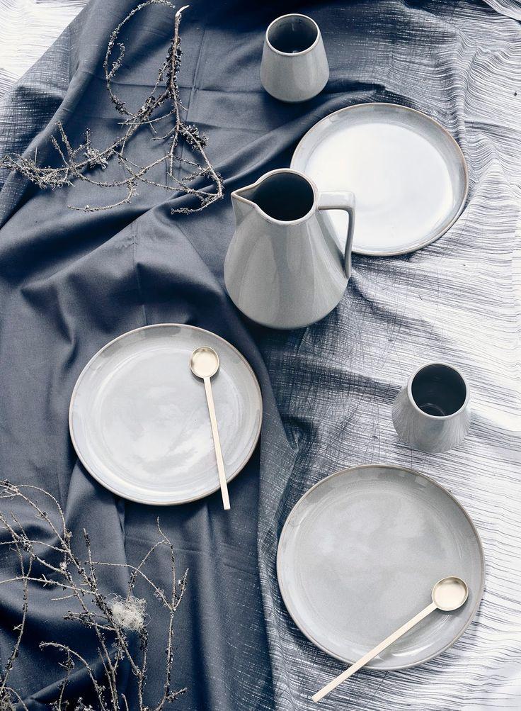 Grey table setting Ferm Living