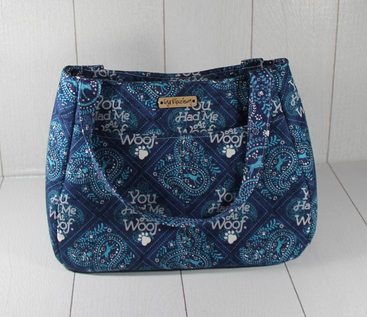 Dog purse- Gift for rescue dog owner - Blue paisley purse - Christmas gift ideas for women - Large shoulder bag - Fabric purse - Swoon Bag by SugarNSpiceSewing on Etsy