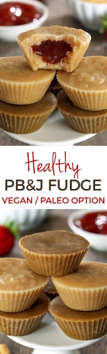 Healthy peanut butter and jelly fudge made in peanut butter cup form! Naturally vegan and gluten-free and sunflower seed butter can be used for a paleo / nut-free version.