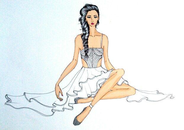 Sitting beauty #fashionillustration