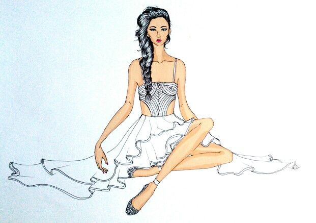 Sitting beauty #fashionillustration