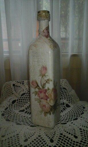 Botella con decoupage