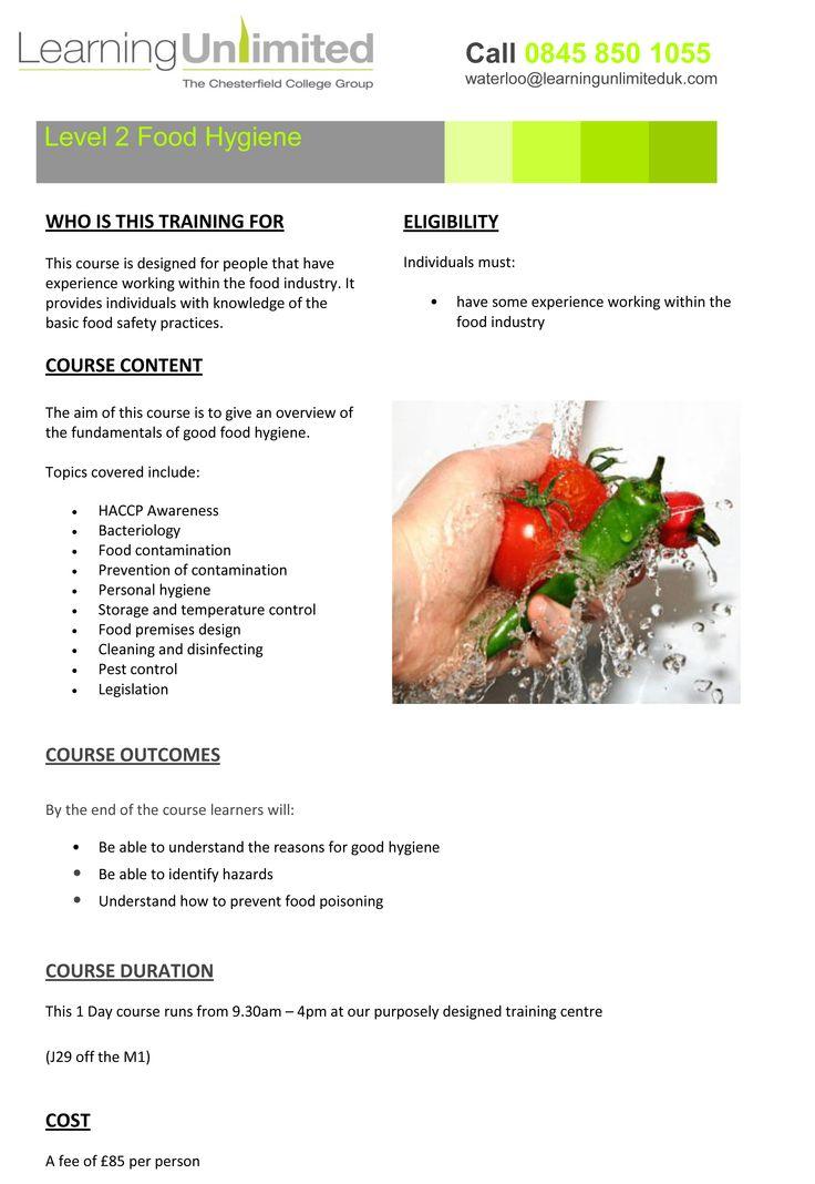 Level 2 Food Hygiene, 01246500699