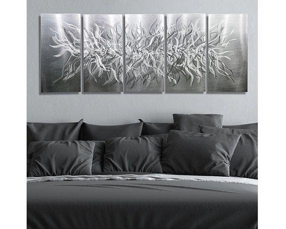 Merveilleux All Natural Silver Modern Metal Painting   Large Wall Sculpture   Abstract Metal  Art   Handmade