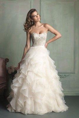 2016 Strapless Ball Gown Wedding Dress With Ruffled Organza Skirt Court Train