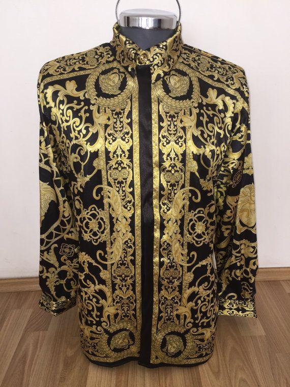 Gianni Versace silk shirt, hermes silk shirt by SilkBarrocoCouture