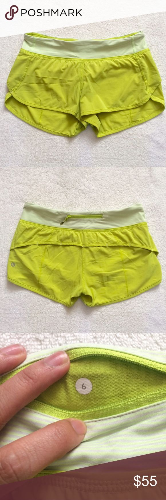 Lululemon Speed Shorts Neon Green Mint Stripe 6 Lululemon Speed Shorts. I think they are neon green with mint stripe. No rips or stains. Comes from a smoke free home.  Size 6 lululemon athletica Shorts