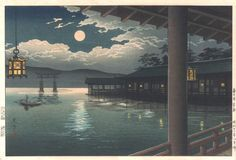 Koitsu Miyajima Moon - Hiroshi Yoshida  9/19/1876 – 4/5/1950)  20th-century Japanese painter and woodblock print maker. He is regarded as one of the greatest artists of the shin-hanga style, and is noted especially for his excellent landscape prints. Yoshida travelled widely, and was particularly known for his images of non-Japanese subjects done in traditional Japanese woodblock style, including the Taj Mahal, the Swiss Alps, the Grand Canyon, and other National Parks in the USA.