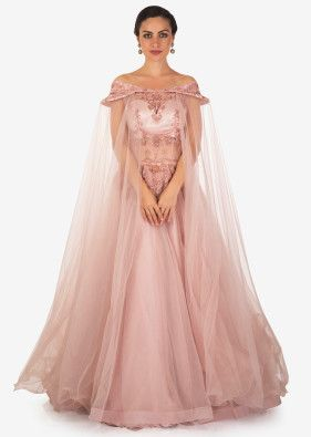 f3a18c88d44 Pale Pink Net Gown Studded with Cut Dana