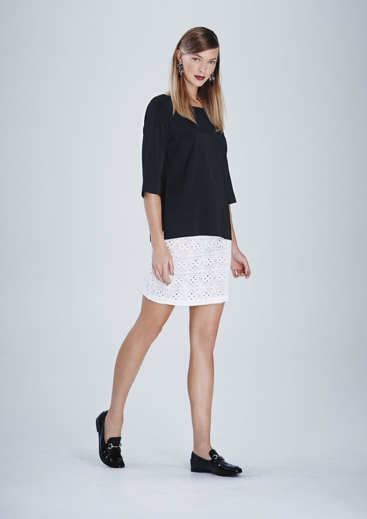 Jewel Neck Top and Riviera Lace Mid Double Skirt