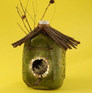 milk jug bird house - wish we could buy milk in jugs here just so I could make one of these.